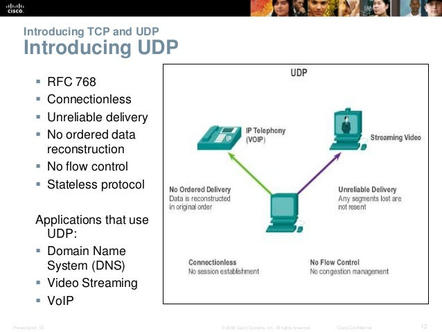 Introducing TCP and UDP  Introducing UDP   RFC 768   Connectionless   Unreliable delivery   No ordered data  reconstru...