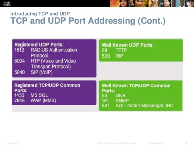 Introducing TCP and UDP  TCP and UDP Port Addressing (Cont.)  Presentation_ID © 2008 Cisco Systems, Inc. All rights reserv...