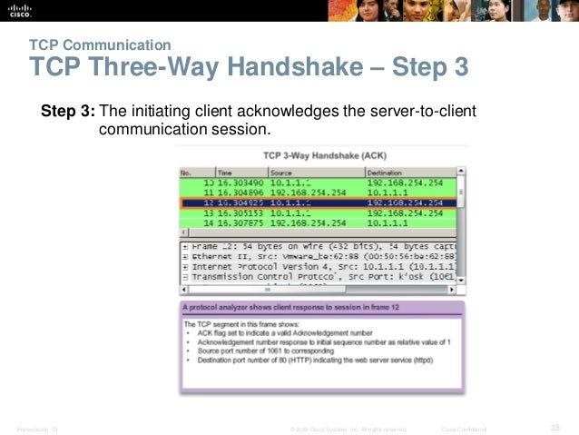 TCP Communication  TCP Three-Way Handshake – Step 3  Step 3: The initiating client acknowledges the server-to-client  comm...
