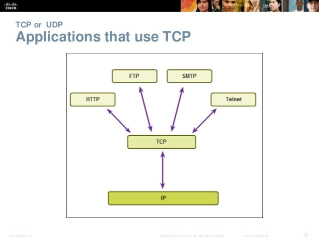TCP or UDP  Applications that use TCP  Presentation_ID © 2008 Cisco Systems, Inc. All rights reserved. Cisco Confidential ...