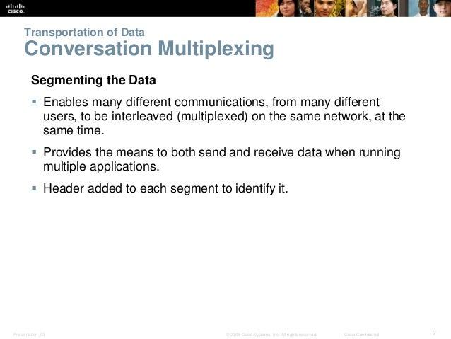 Transportation of Data  Conversation Multiplexing  Segmenting the Data   Enables many different communications, from many...