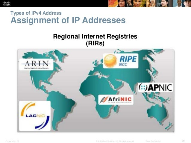 Types of IPv4 Address  Assignment of IP Addresses  Regional Internet Registries  (RIRs)  Presentation_ID © 2008 Cisco Syst...