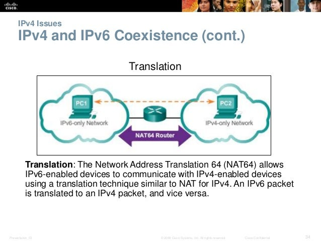 IPv4 Issues  IPv4 and IPv6 Coexistence (cont.)  Translation  Translation: The Network Address Translation 64 (NAT64) allow...