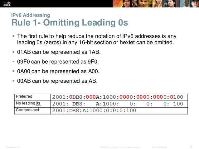 IPv6 Addressing  Rule 1- Omitting Leading 0s   The first rule to help reduce the notation of IPv6 addresses is any  leadi...