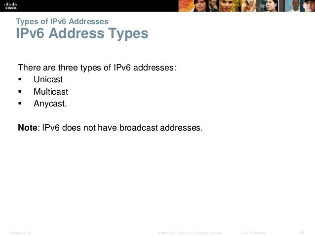 Types of IPv6 Addresses  IPv6 Address Types  There are three types of IPv6 addresses:   Unicast   Multicast   Anycast. ...