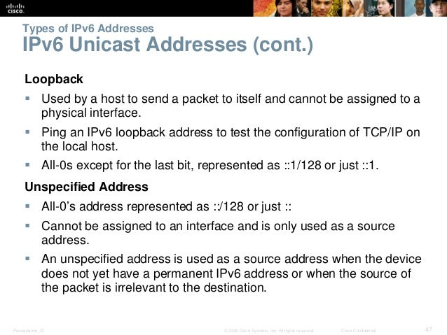 Types of IPv6 Addresses  IPv6 Unicast Addresses (cont.)  Loopback   Used by a host to send a packet to itself and cannot ...