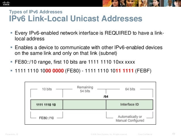Types of IPv6 Addresses  IPv6 Link-Local Unicast Addresses   Every IPv6-enabled network interface is REQUIRED to have a l...
