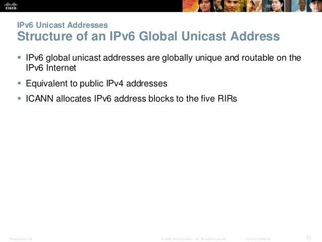 IPv6 Unicast Addresses  Structure of an IPv6 Global Unicast Address   IPv6 global unicast addresses are globally unique a...