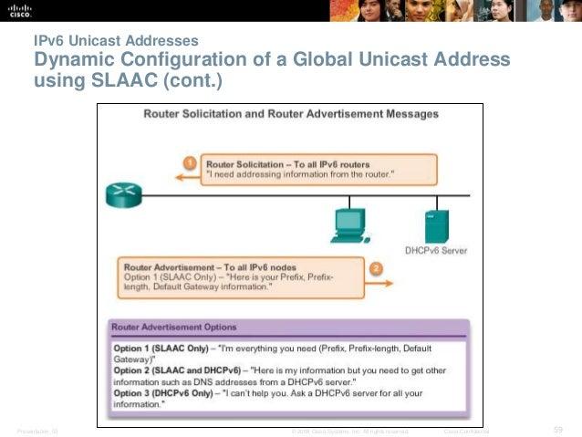 IPv6 Unicast Addresses  Dynamic Configuration of a Global Unicast Address  using SLAAC (cont.)  Presentation_ID © 2008 Cis...