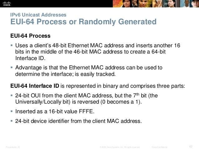 IPv6 Unicast Addresses  EUI-64 Process or Randomly Generated  EUI-64 Process   Uses a client's 48-bit Ethernet MAC addres...