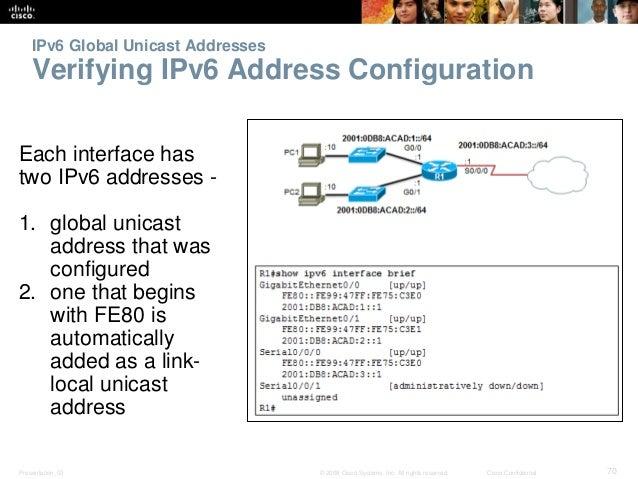 IPv6 Global Unicast Addresses  Verifying IPv6 Address Configuration  Each interface has  two IPv6 addresses -  1. global u...