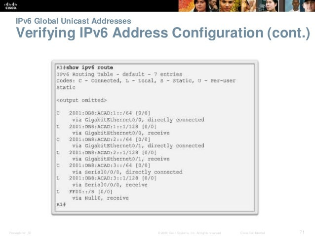 IPv6 Global Unicast Addresses  Verifying IPv6 Address Configuration (cont.)  Presentation_ID © 2008 Cisco Systems, Inc. Al...