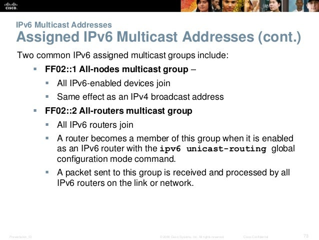 IPv6 Multicast Addresses  Assigned IPv6 Multicast Addresses (cont.)  Two common IPv6 assigned multicast groups include:  ...