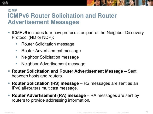 ICMP  ICMPv6 Router Solicitation and Router  Advertisement Messages   ICMPv6 includes four new protocols as part of the N...