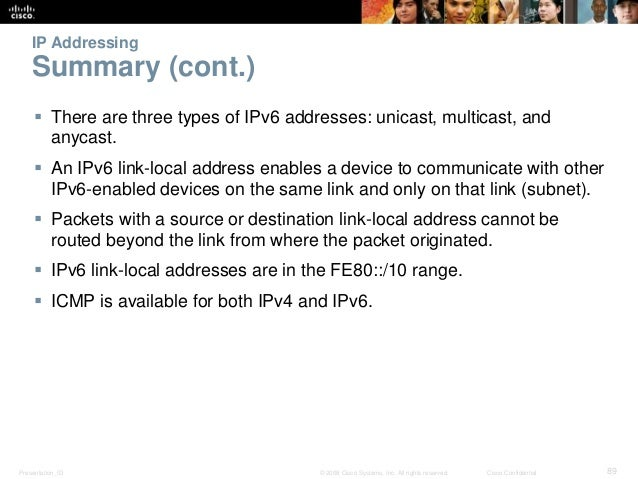 IP Addressing  Summary (cont.)   There are three types of IPv6 addresses: unicast, multicast, and  anycast.   An IPv6 li...