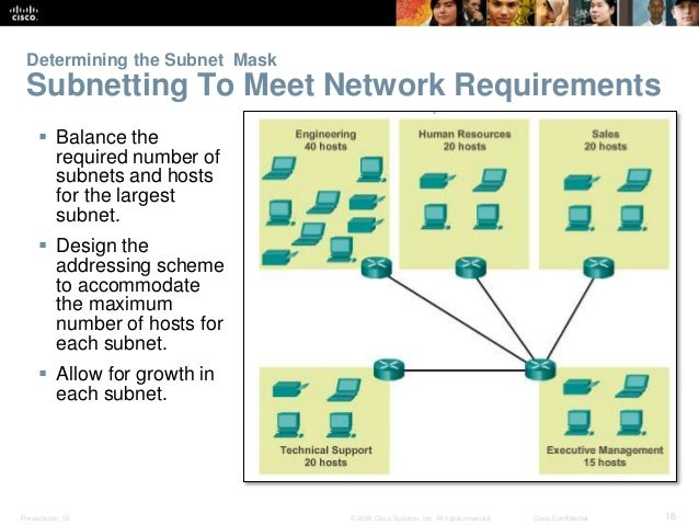 Determining the Subnet Mask  Subnetting To Meet Network Requirements   Balance the  required number of  subnets and hosts...