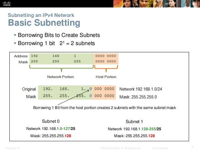 Subnetting an IPv4 Network  Basic Subnetting   Borrowing Bits to Create Subnets   Borrowing 1 bit 21 = 2 subnets  Borrow...