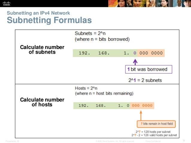 Subnetting an IPv4 Network  Subnetting Formulas  Calculate number  of subnets  Calculate number  of hosts  Presentation_ID...