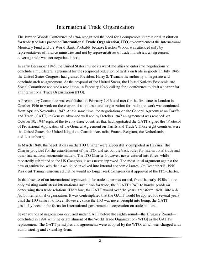 International Trade Organization Slide 2