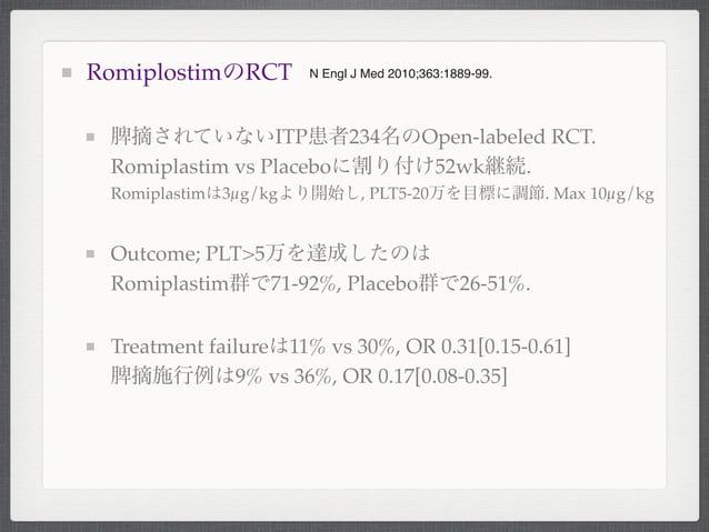RomiplostimのRCT脾摘されていないITP患者234名のOpen-labeled RCT.Romiplastim vs Placeboに割り付け52wk継続.Romiplastimは3µg/kgより開始し, PLT5-20万を目標に調...