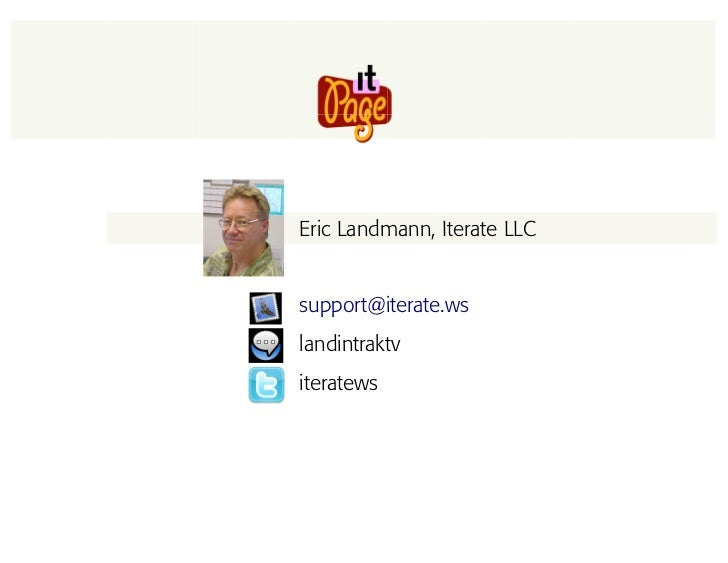 Eric Landmann, Iterate LLC   support@iterate.ws landintraktv iteratews