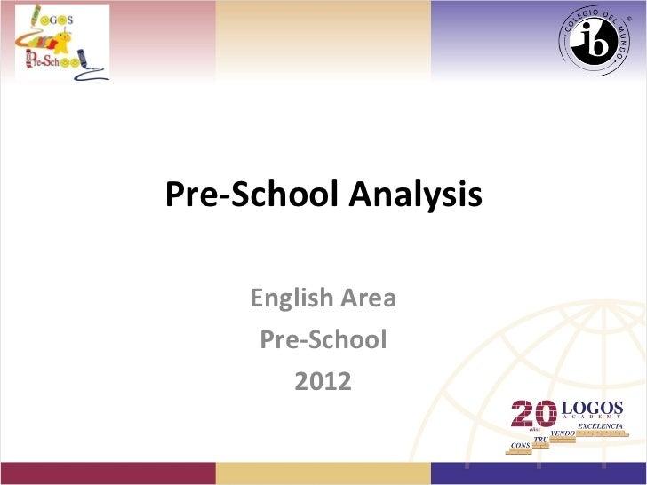 Pre-School Analysis     English Area      Pre-School         2012