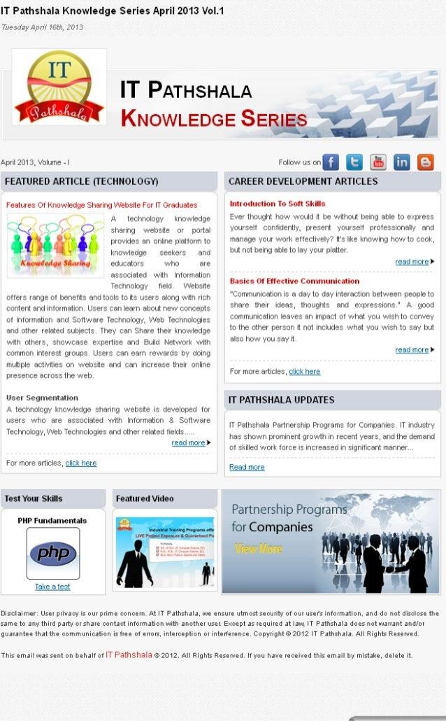 It pathshala knowledge series april 2013 vol 1