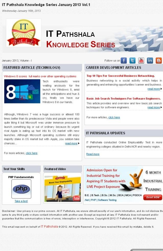 It pathshala knowledge series january 2013 vol 1