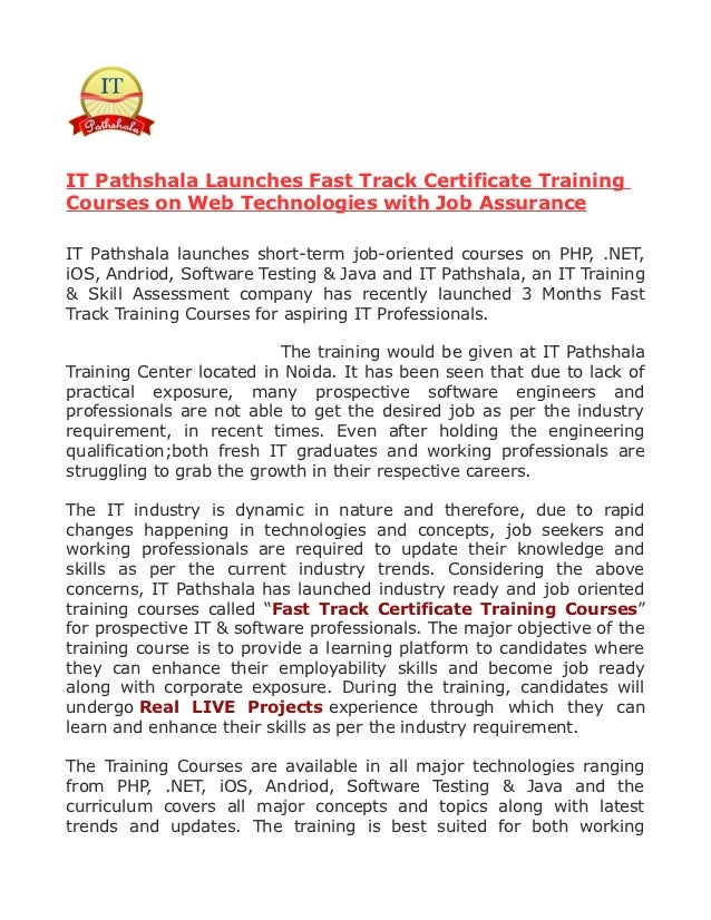 IT Pathshala Launches Fast Track Certificate TrainingCourses on Web Technologies with Job AssuranceIT Pathshala launches s...