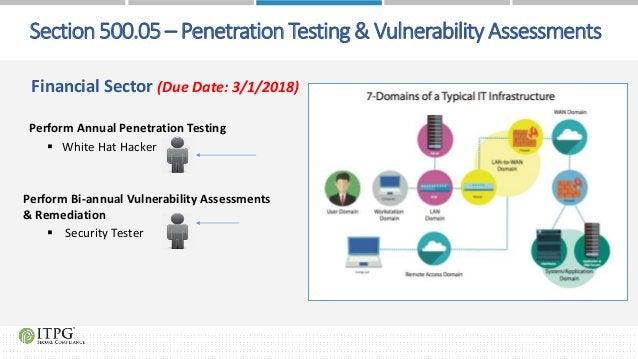 Financial Sector (Due Date: 3/1/2018) Perform Annual Penetration Testing  White Hat Hacker Perform Bi-annual Vulnerabilit...