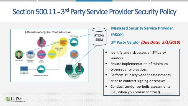  Identify and risk assess all 3rd party vendors  Ensure implementation of minimum cybersecurity practices  Perform 3rd ...