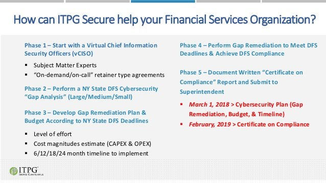 Howcan ITPGSecure help your Financial Services Organization? Phase 1 – Start with a Virtual Chief Information Security Off...