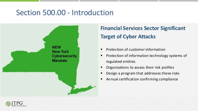 Financial Services Sector Significant Target of Cyber Attacks  Protection of customer information  Protection of informa...