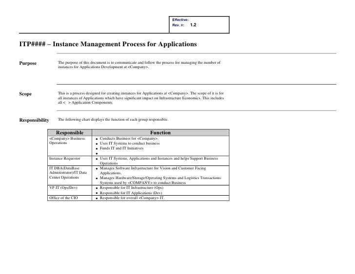 ITP#### – Instance Management Process for Applications<br /> <br />PurposeThe purpose of this document is to communicate a...