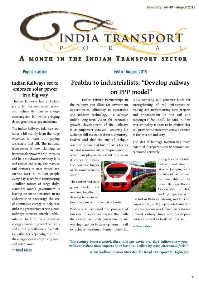 India Transport Portal: newsletter august2015