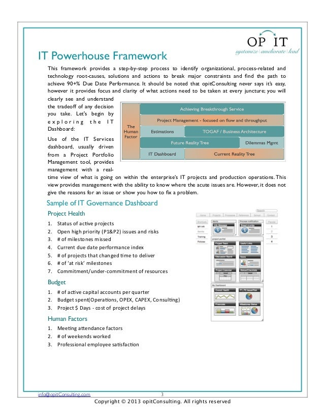 IT Powerhouse FrameworkThis framework provides a step-by-step process to identify organizational, process-related andtechn...