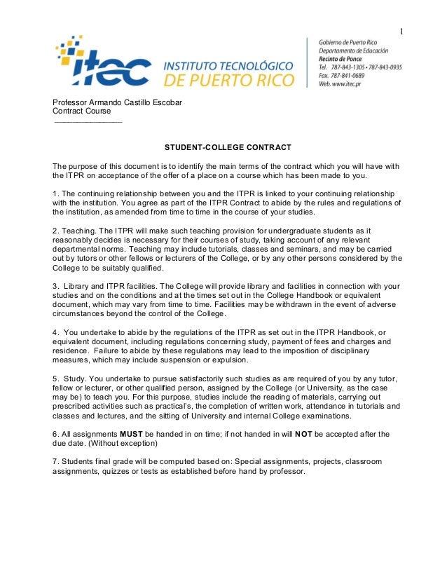 1Professor Armando Castillo EscobarContract Course_______________                                 STUDENT-COLLEGE CONTRACT...
