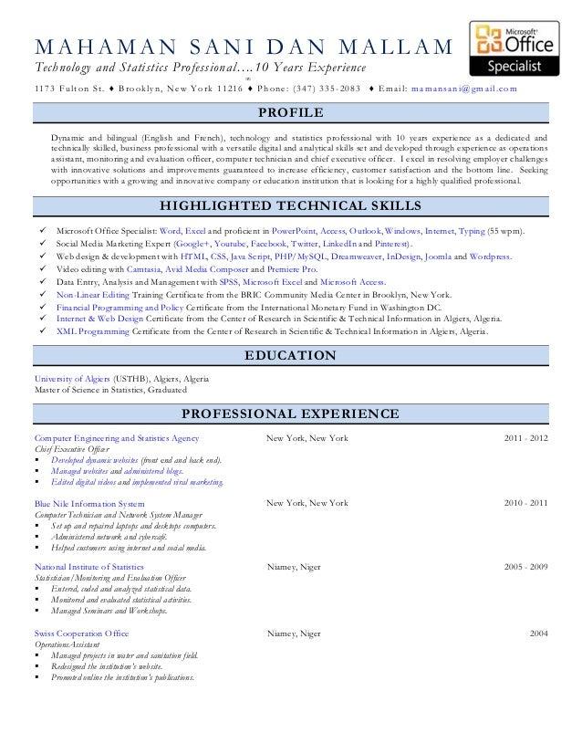 MAHAMAN SANI DAN MALLAMTechnology and Statistics Professional….10 Years Experience                                        ...