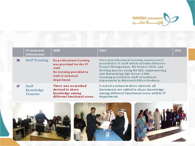 I.T. Issues and Achievements 2009 2010 2011 16 Staff Training No professional training was provided for the IT staff. No t...