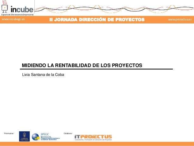 Promueve: Colabora: II JORNADA DIRECCIÓN DE PROYECTOS www.proiectus.eswww.incubegc.es MIDIENDO LA RENTABILIDAD DE LOS PROY...