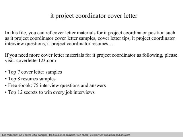 It project coordinator cover letter for Scheduling coordinator cover letter