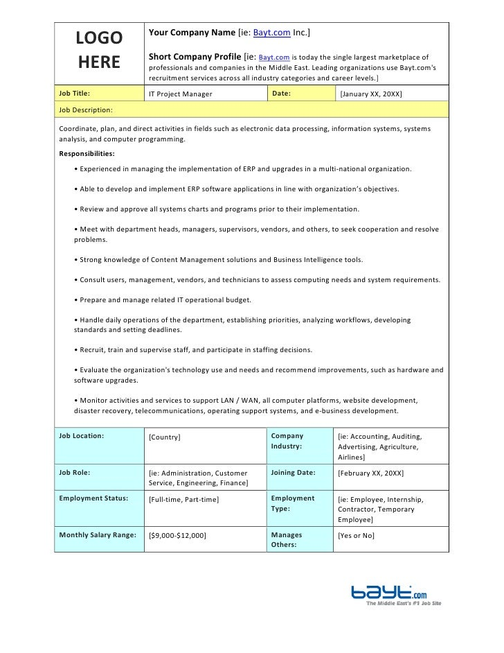 It Project Manager Job Description Template By BaytCom