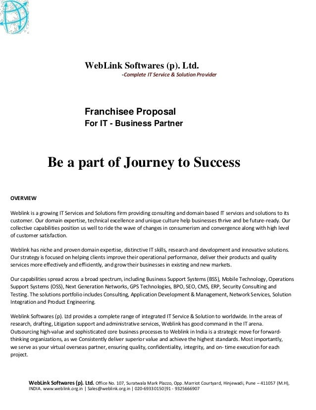 It Projects Franchisee Franchisee Proposal For It