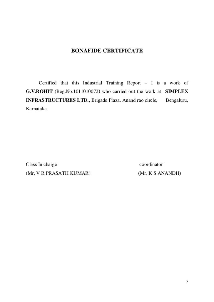 industrial training report 1 inplant training certificate model sample certificate format of training beautiful training certificate