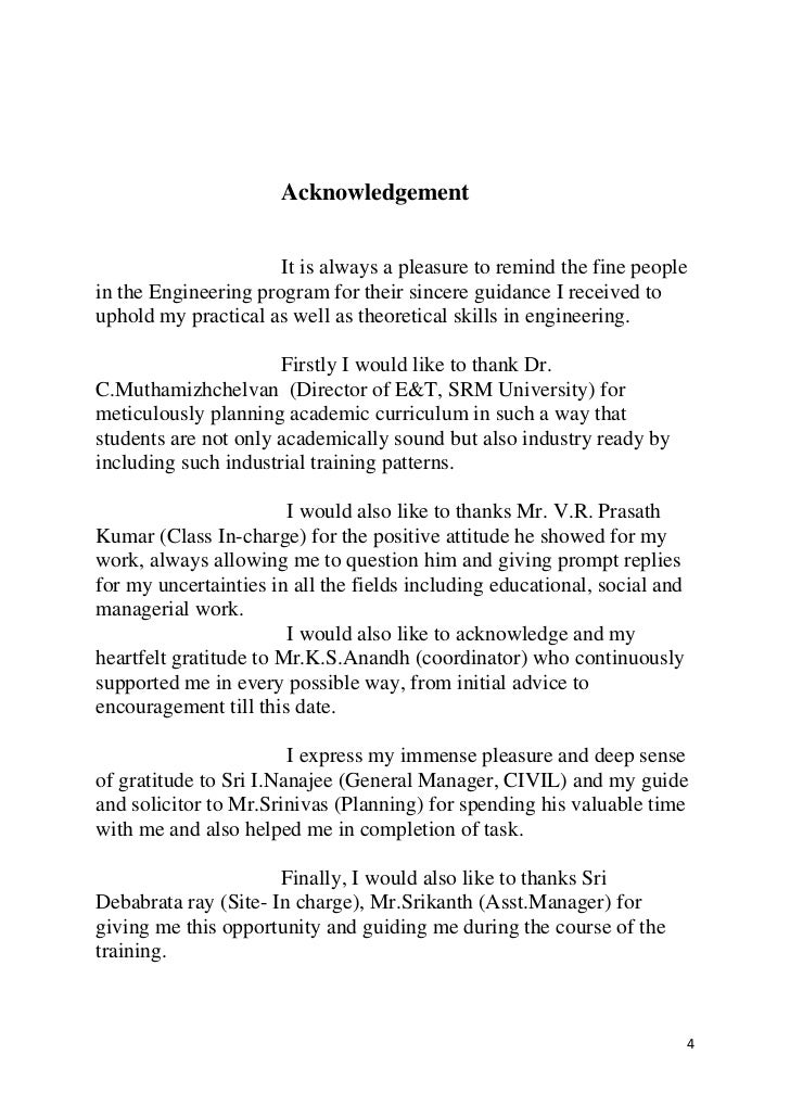acknowledgement of a thesis report Constructive comments and suggestions throughout the experimental and thesis my acknowledgement also goes to all the technicians and office.