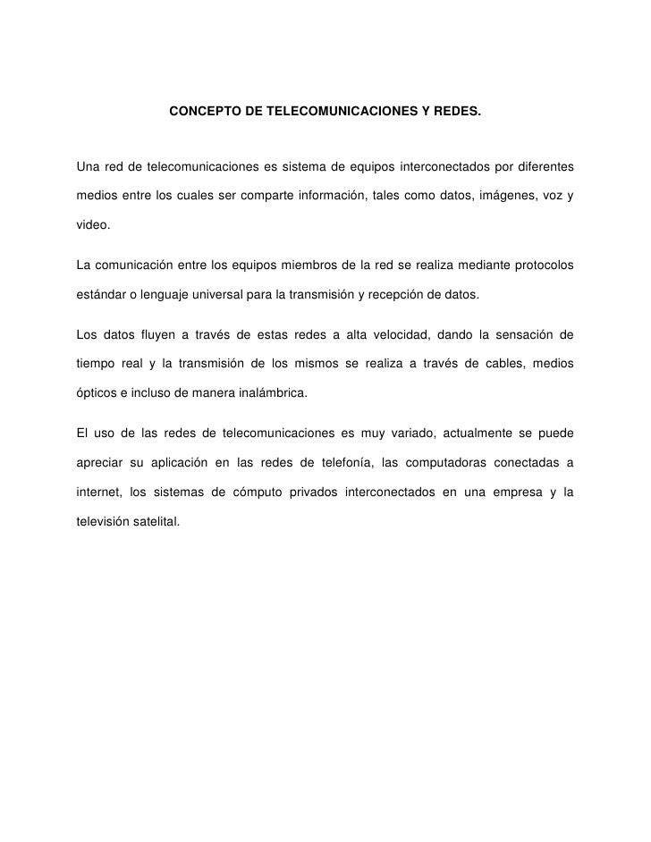 CONCEPTO DE TELECOMUNICACIONES Y REDES. Slide 2