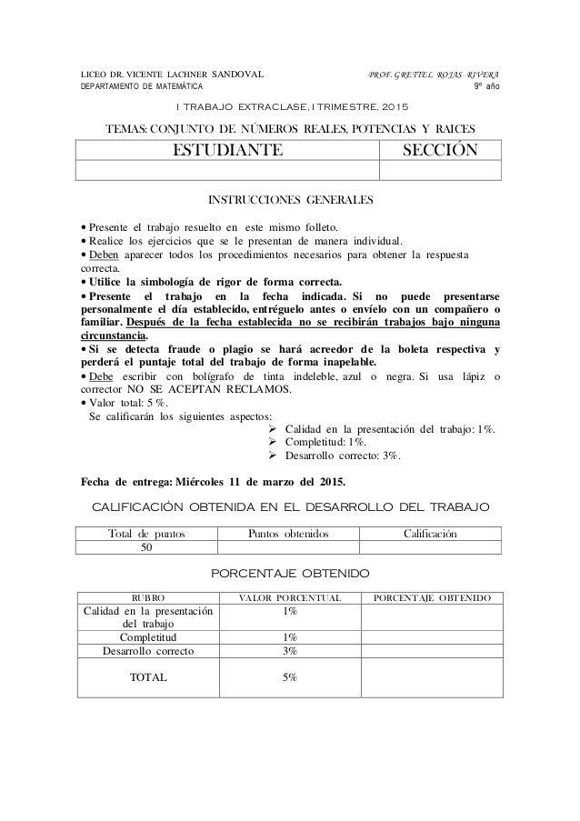LICEO DR. VICENTE LACHNER SANDOVAL PROF. GRETTEL ROJAS RIVERA DEPARTAMENTO DE MATEMÁTICA 9º año I TRABAJO EXTRACLASE, I TR...