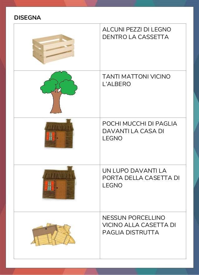 DISEGNA ALCUNI PEZZI DI LEGNO DENTRO LA CASSETTA TANTI MATTONI VICINO L'ALBERO POCHI MUCCHI DI PAGLIA DAVANTI LA CASA DI L...