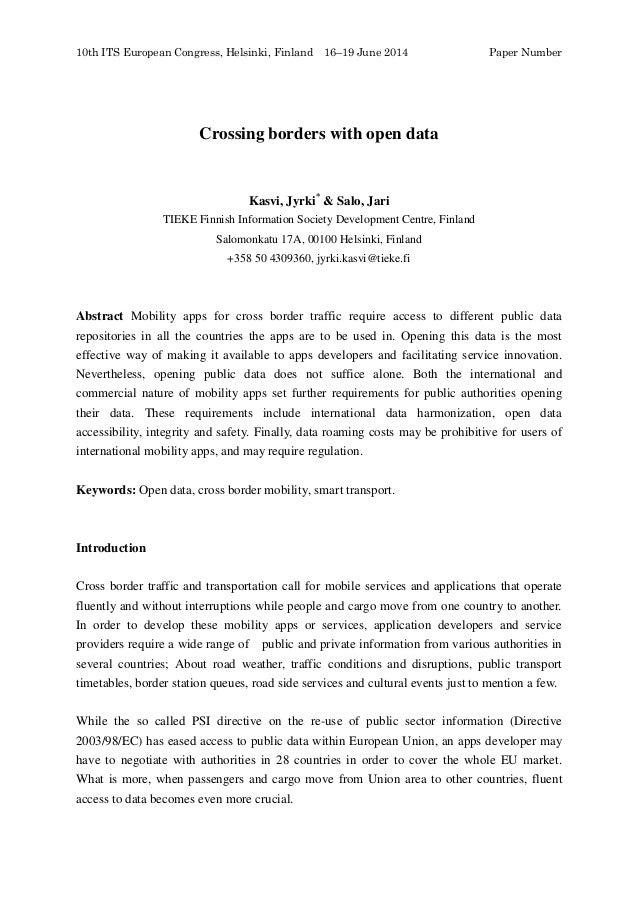 10th ITS European Congress, Helsinki, Finland 16–19 June 2014 Paper Number Crossing borders with open data Kasvi, Jyrki* &...