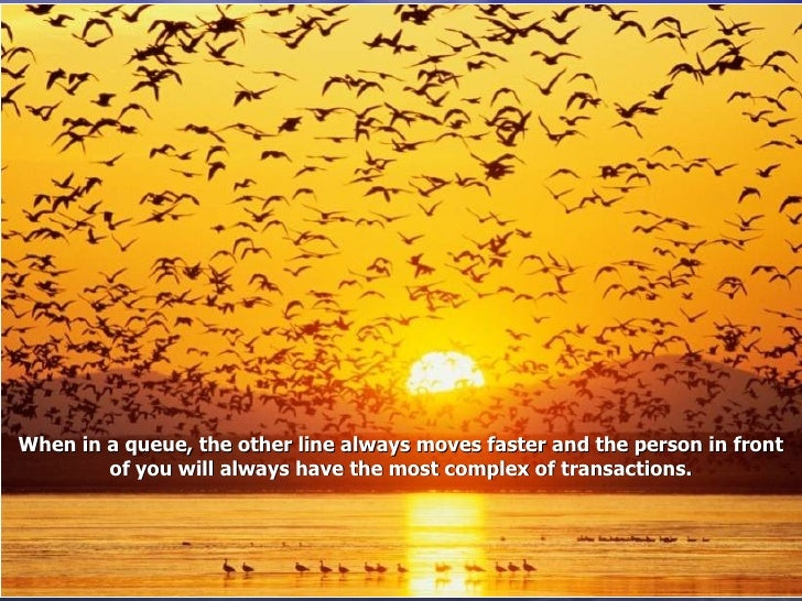 When in a queue, the other line always moves faster and the person in front of you will always have the most complex of tr...
